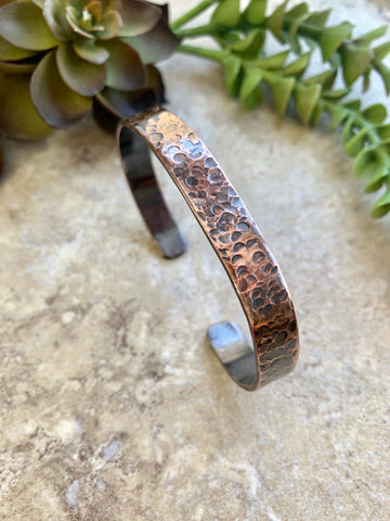 Hammered Copper Cuff for Men or Women