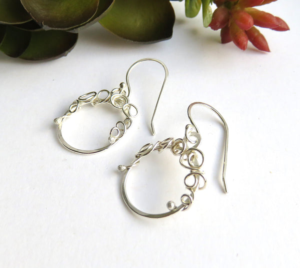 Tiny Silver Hoop Earrings - Small Silver Hoop Earrings - Antiqued Sterling Earrings - Hammered Hoops - Desert Shine Designs