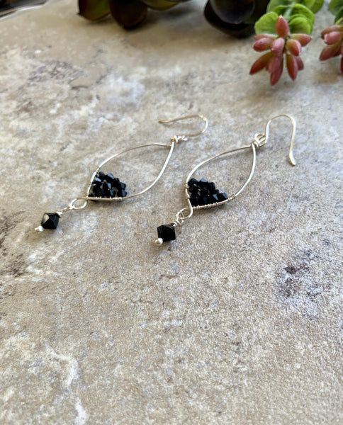 Long Dangly Earrings Sterling with Black Crystals