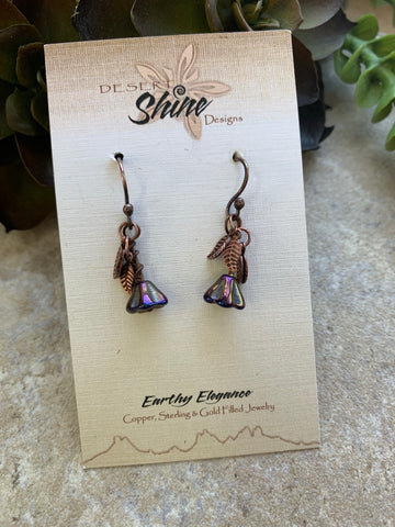 Purple Flower Copper Earrings