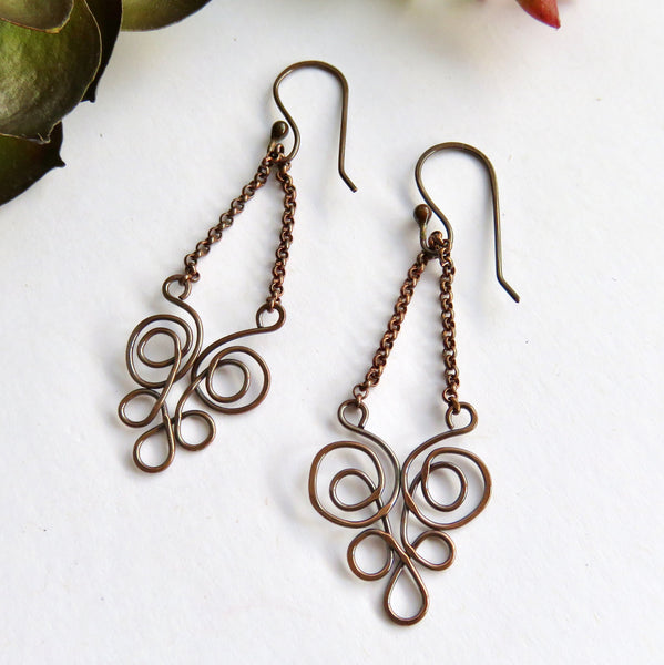Long Copper Chandelier Handmade Earrings