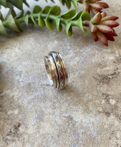 Spinner Rings for Women, Unique Wedding Ring, Sterling Silver Ring