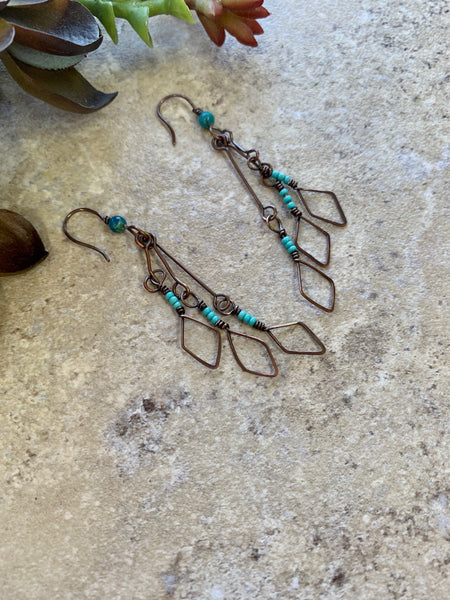 Turquoise Copper Long Dangle Earrings