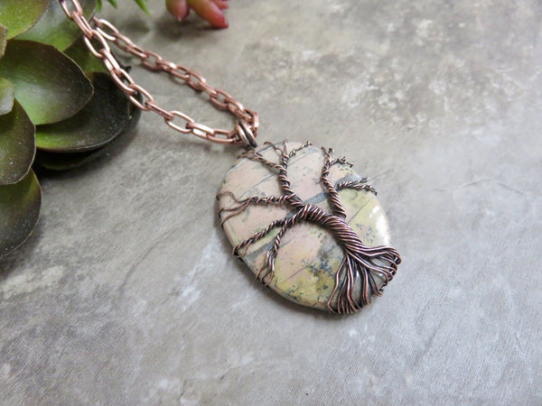 Tree of Life Pendant Rhodonite and Copper - Desert Shine Designs