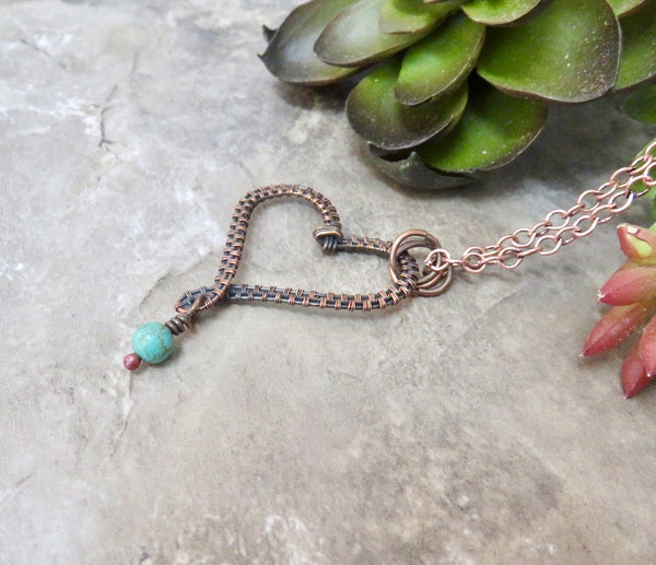 Turquoise Copper Crooked Heart Necklace - Desert Shine Designs