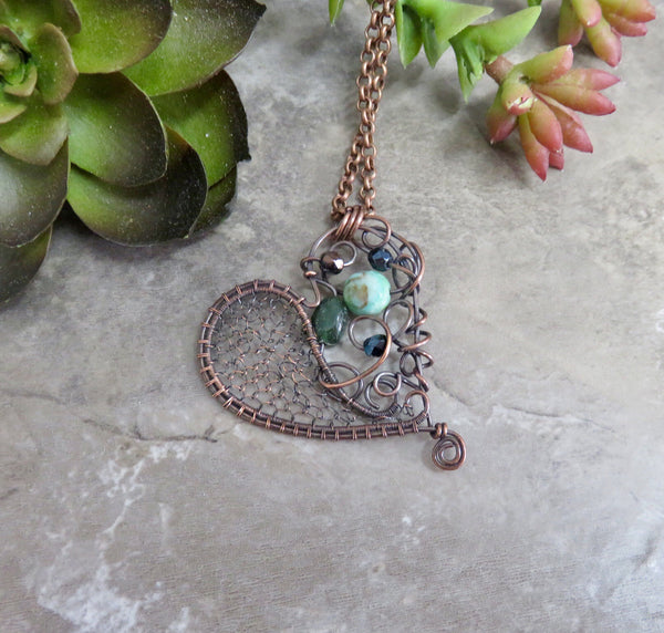 Crooked Heart Pendant Necklace in Copper