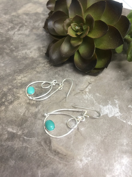 Turquoise and Silver Drop Earrings - Desert Shine Designs