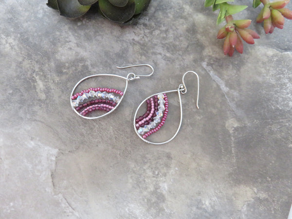 Garnet Earrings, Sterling Silver Hoop Earrings, Garnet Hoop - Desert Shine Designs