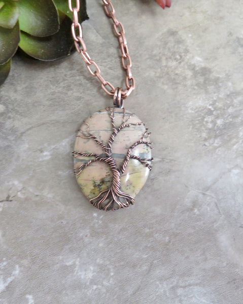 Tree of Life Pendant Necklace in Copper - Biggs Picture Jasper - Desert Shine Designs
