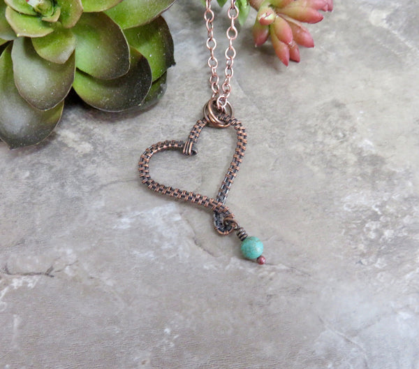 Turquoise Heart Necklace - Desert Shine Designs