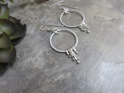 Silver Hoop Earrings - Bohemian Style Hoops - Desert Shine Designs