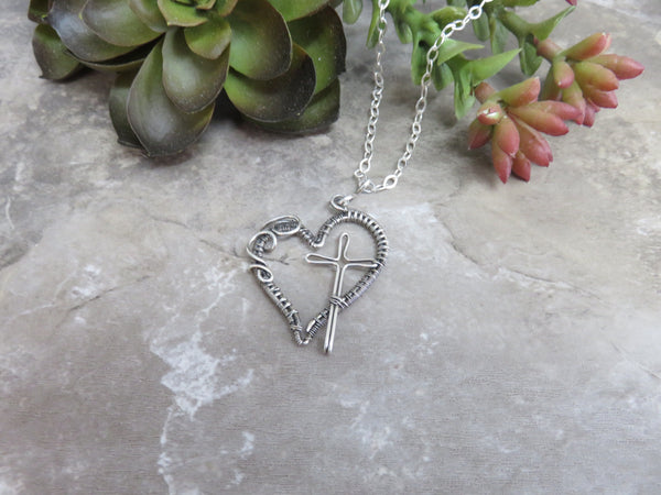 Heart Necklace with Cross in Sterling