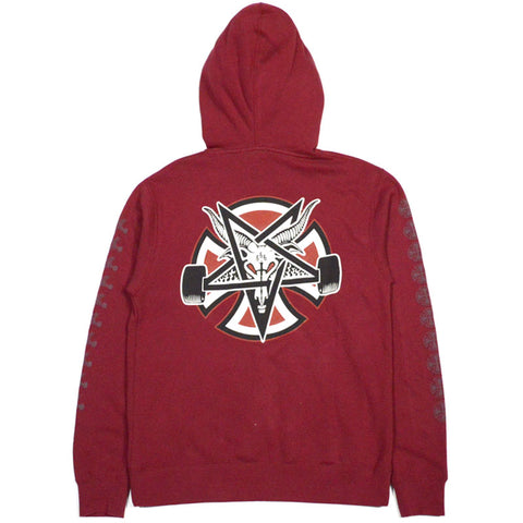 Thrasher Pentagram Cross P/O Independent Mens Hoodie Garnet Red