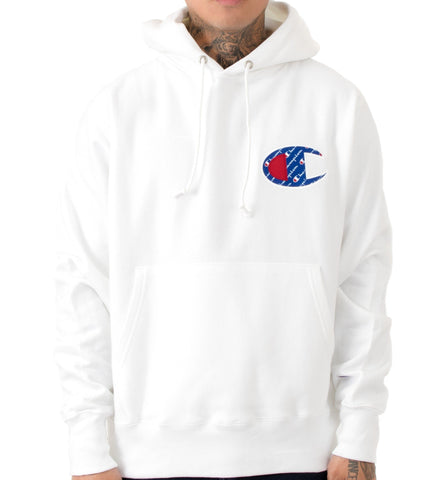 Champion Life Reverse Weave C Logo Pullover Hoodie White