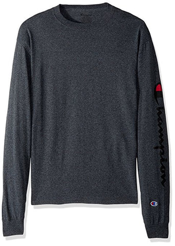Champion L/S Sleeve Script Granite Heather