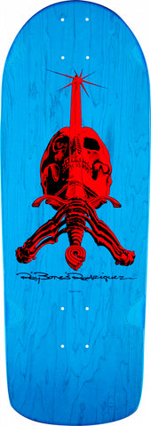 Powell Peralta OG Rodriguez Skull and Sword Skateboard Deck Blue