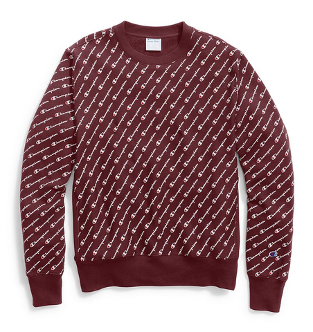 Champion Life® Men's Reverse Weave® Crew, All-over Logo - Maroon