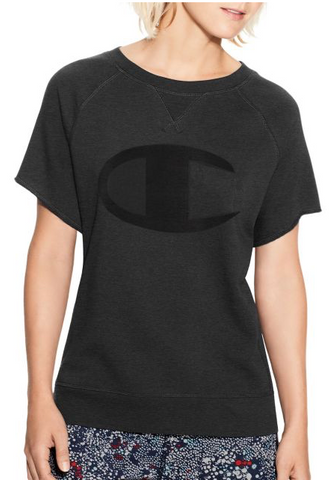 Champion Women's Heritage French Terry Short-Sleeve Crew, Tonal C Logo Black