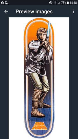Santa Cruz Star Wars Luke Skywalker Skateboard Deck 7.8""
