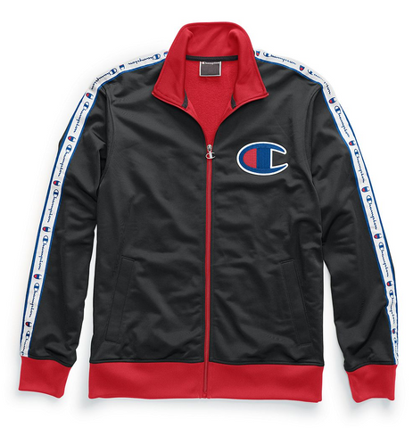 Champion Life® Men's Track Jacket, Chain Stitch Big C Logo - Black/Scarlet
