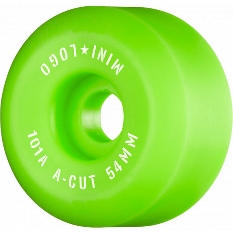 "Mini Logo Skateboard Wheels A-cut ""2"" 54mm 101A Green 4pk"