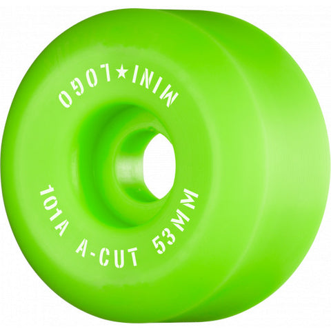 "Mini Logo Skateboard Wheels A-cut ""2"" 53mm 101A Green 4pk"
