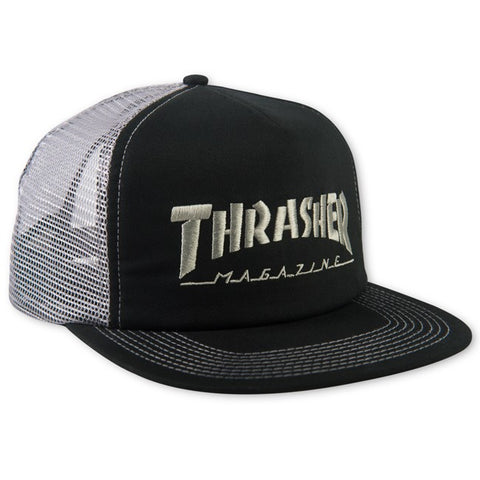 Thrasher Embroidered Logo Mesh Cap Black/Grey