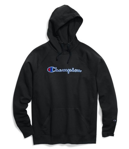 Champion Powerblend® Fleece Pullover Hoodie, Felt Logo - Black
