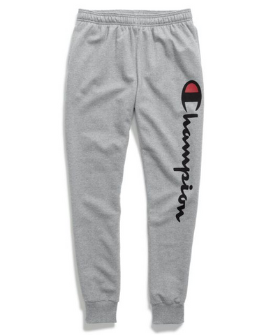 Champion Men's Powerblend Fleece Joggers, Vertical Script Logo - Oxford Grey