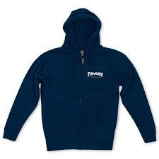 Thrasher Logo Zip Hood Navy