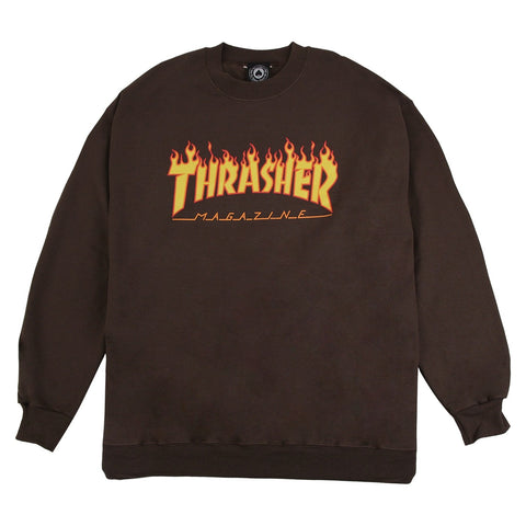 Thrasher Flame Logo Crewneck Brown