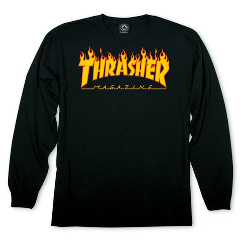 Thrasher Magazine Flame Logo Long Sleeve T-Shirt Black