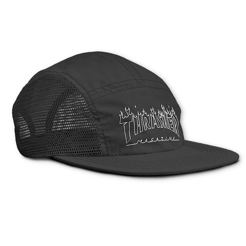 Magazine Flame Outline 5 Panel Hat Black