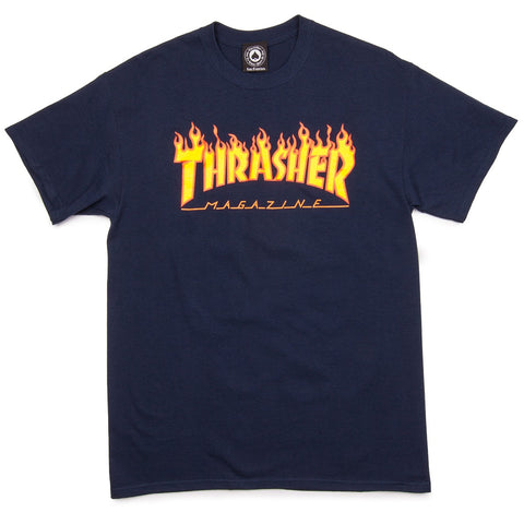 Thrasher Magazine Flame Logo T-Shirt Navy