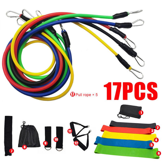17 Pcs Workout Bands Set + 5 Free Fitness Training Bands with Bag