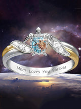 Exquisite Lovely White Blue Zircon Turtle Rings Mom Loves You Forever Engraved Cute Sea Turtle Silver Rings Women Jewelry Gift