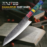 Santoku Knife, Chef's Nakiri Knife 67 Layers Japanese Damascus Steel Damascus Chef Knife 8 Inch Damascus Kitchen Knife Wood HD