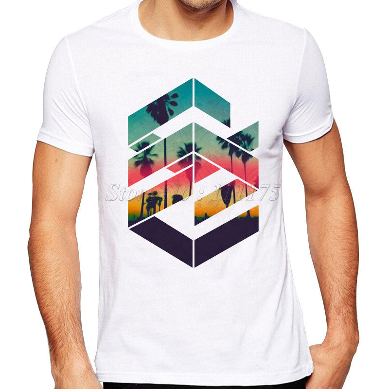 Geometric Beach Sunset Men's T-Shirt - Shopichic