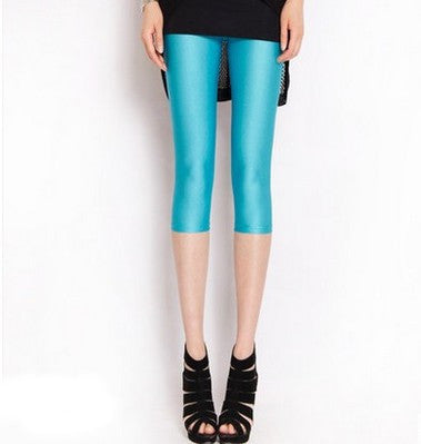 Solid Neon Mid-Length Leggings - Shopichic
