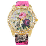 Flower and Rhinestone Quartz Wristwatch - Shopichic