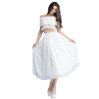 Long White Floral Chiffon Skirt - Shopichic