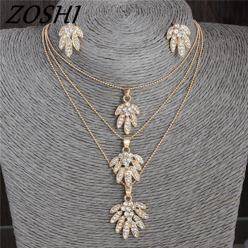 Crystal Flower Necklace & Earrings