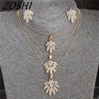 Crystal Flower Necklace & Earrings - Shopichic