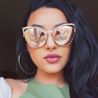 Rose Gold Cat Eye Mirrored Sunglasses - Shopichic