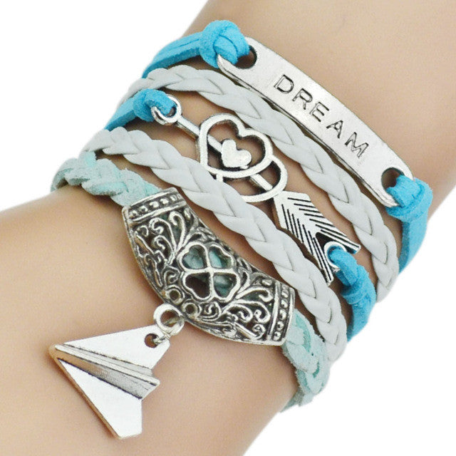 Leather Bracelets with Bangles