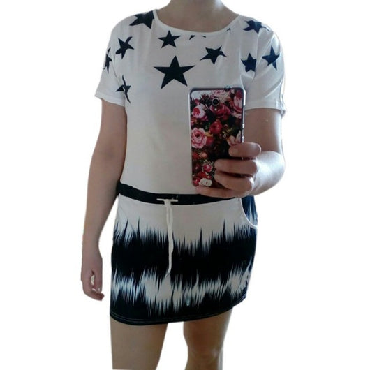 Star Print Short Sleeve Mini Dress - Shopichic