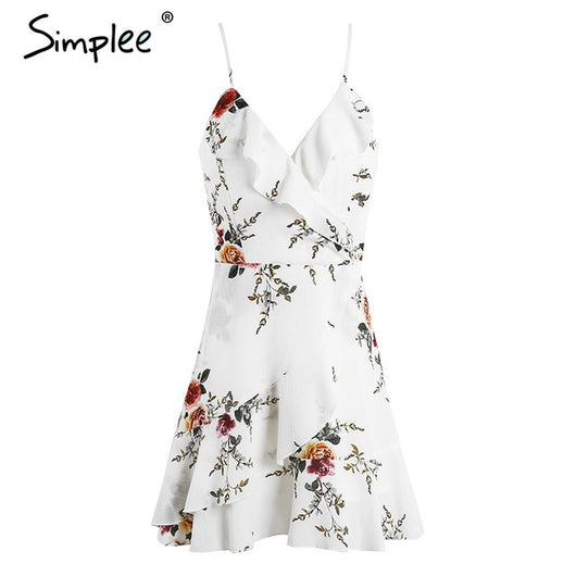 A-Line Ruffled Front Floral Print Summer Mini Dress - Shopichic