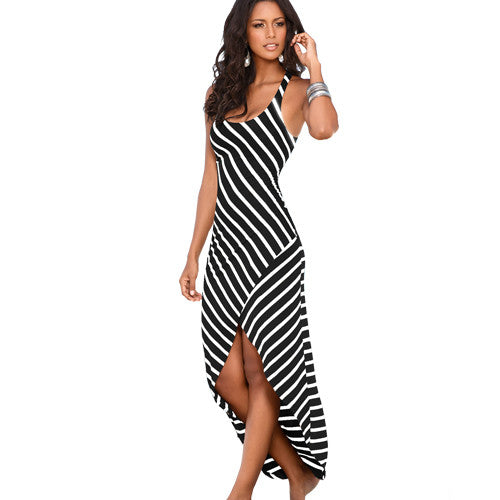 Striped Long Maxi Dress - Shopichic