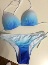 Wireless Blue and White Tie-Strap Bikini - Shopichic