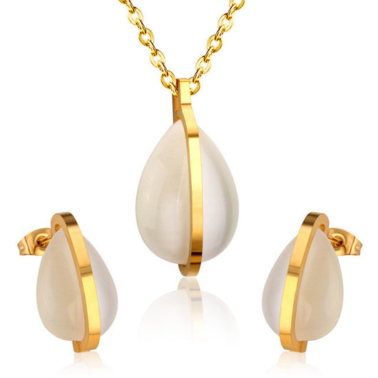 Tear Drop-Shaped Necklace and Earrings Set - Shopichic